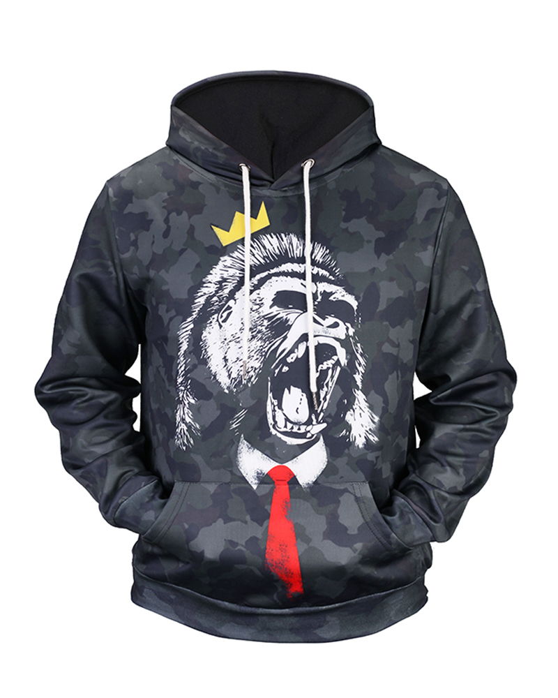 Creative Animal Pattern Pullover Casual Style 3D Painted Hoodie