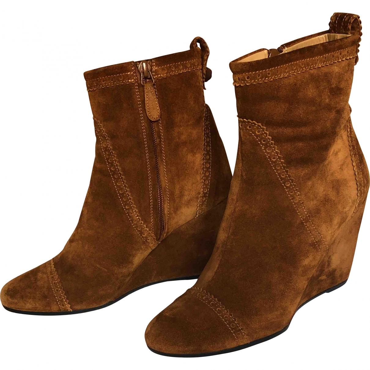 Balenciaga \N Brown Suede Ankle boots for Women 39 EU