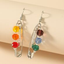 Crystal Safety Pin Drop Earrings