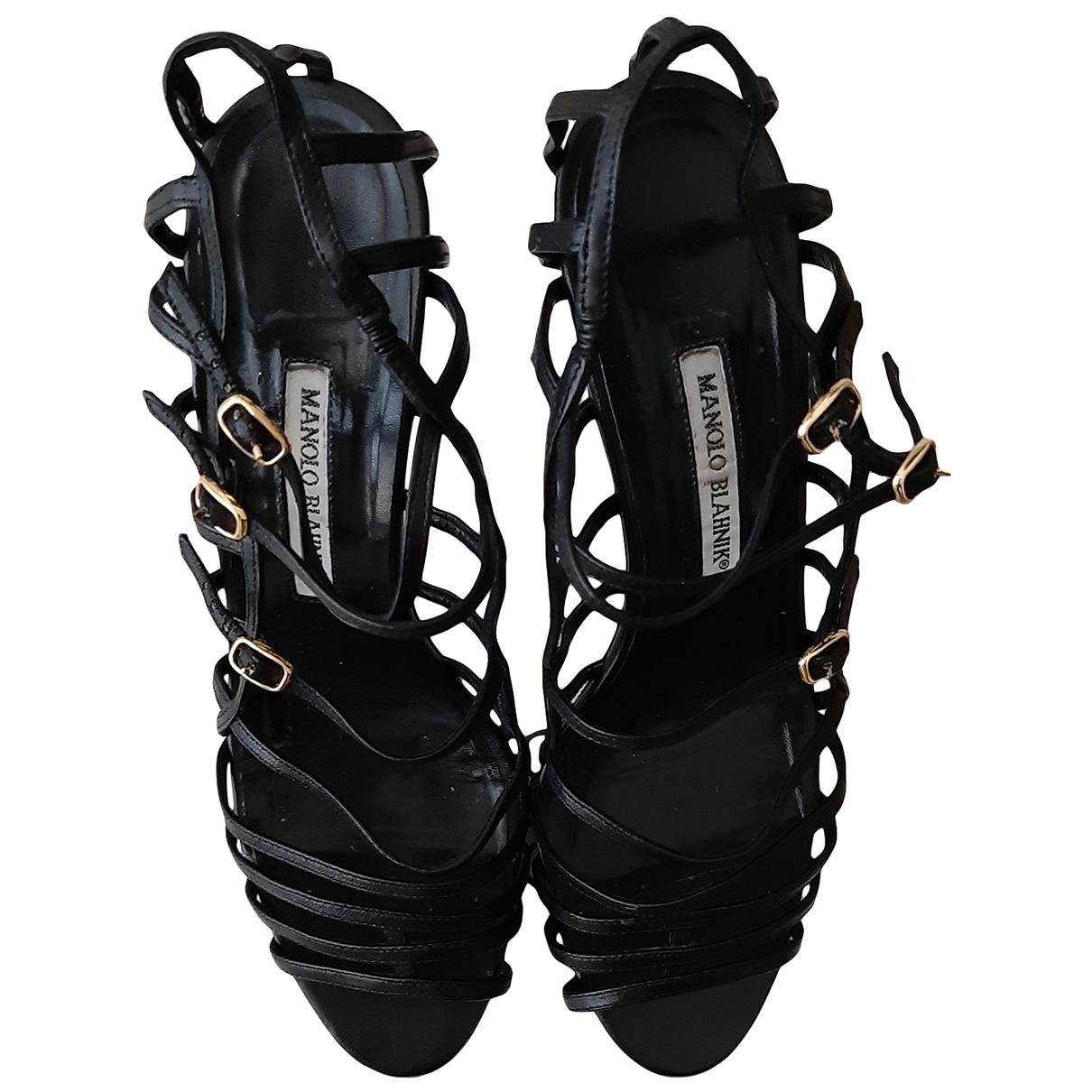 Manolo Blahnik - Sandales   pour femme en cuir - noir