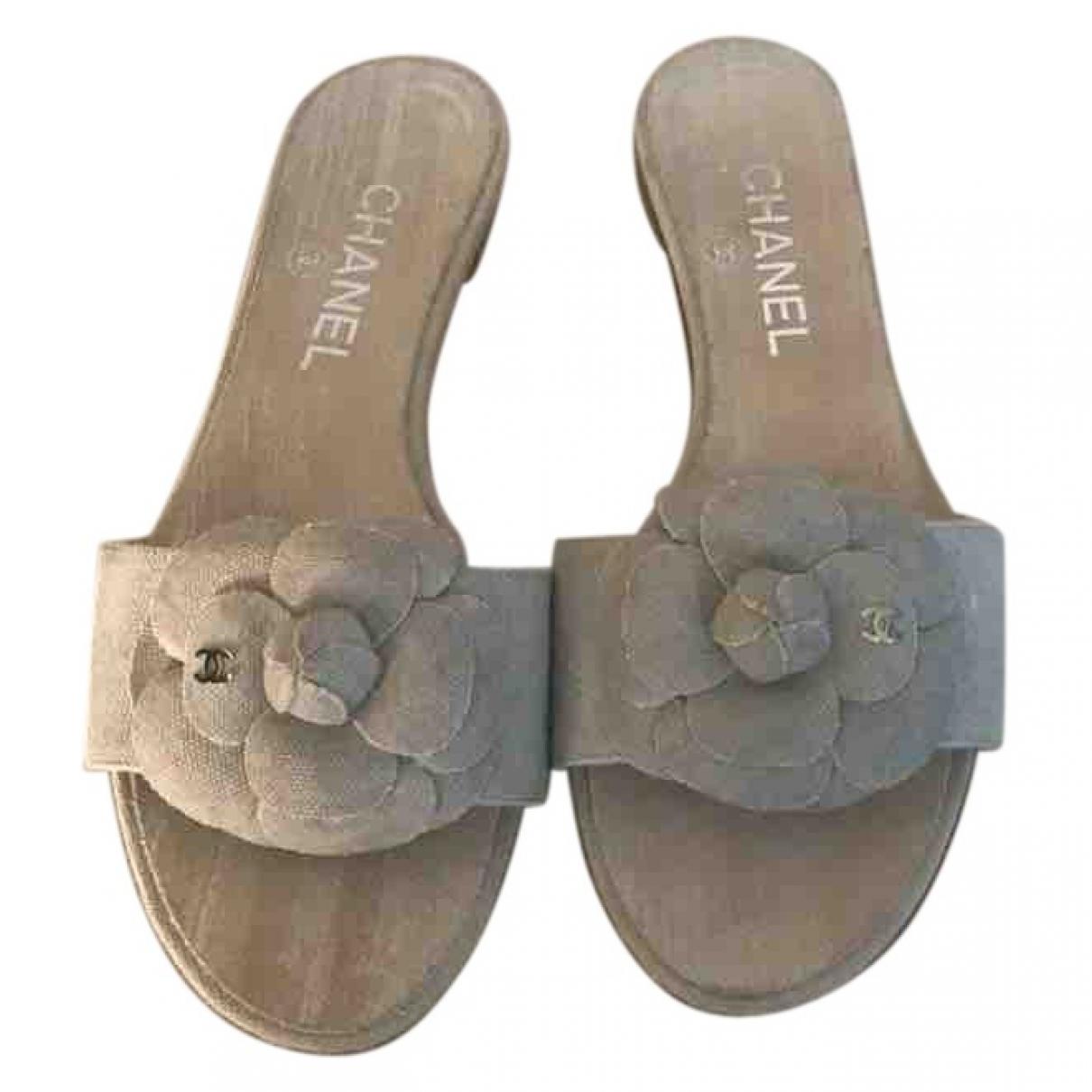 Chanel - Sandales   pour femme en toile - beige