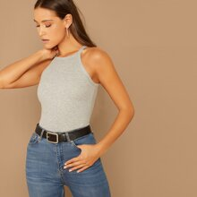 Heathered Knit Ribbed Halter Top