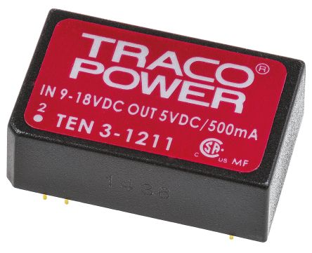 TRACOPOWER TEN 3 3W Isolated DC-DC Converter Through Hole, Voltage in 9 → 18 V dc, Voltage out 5V dc