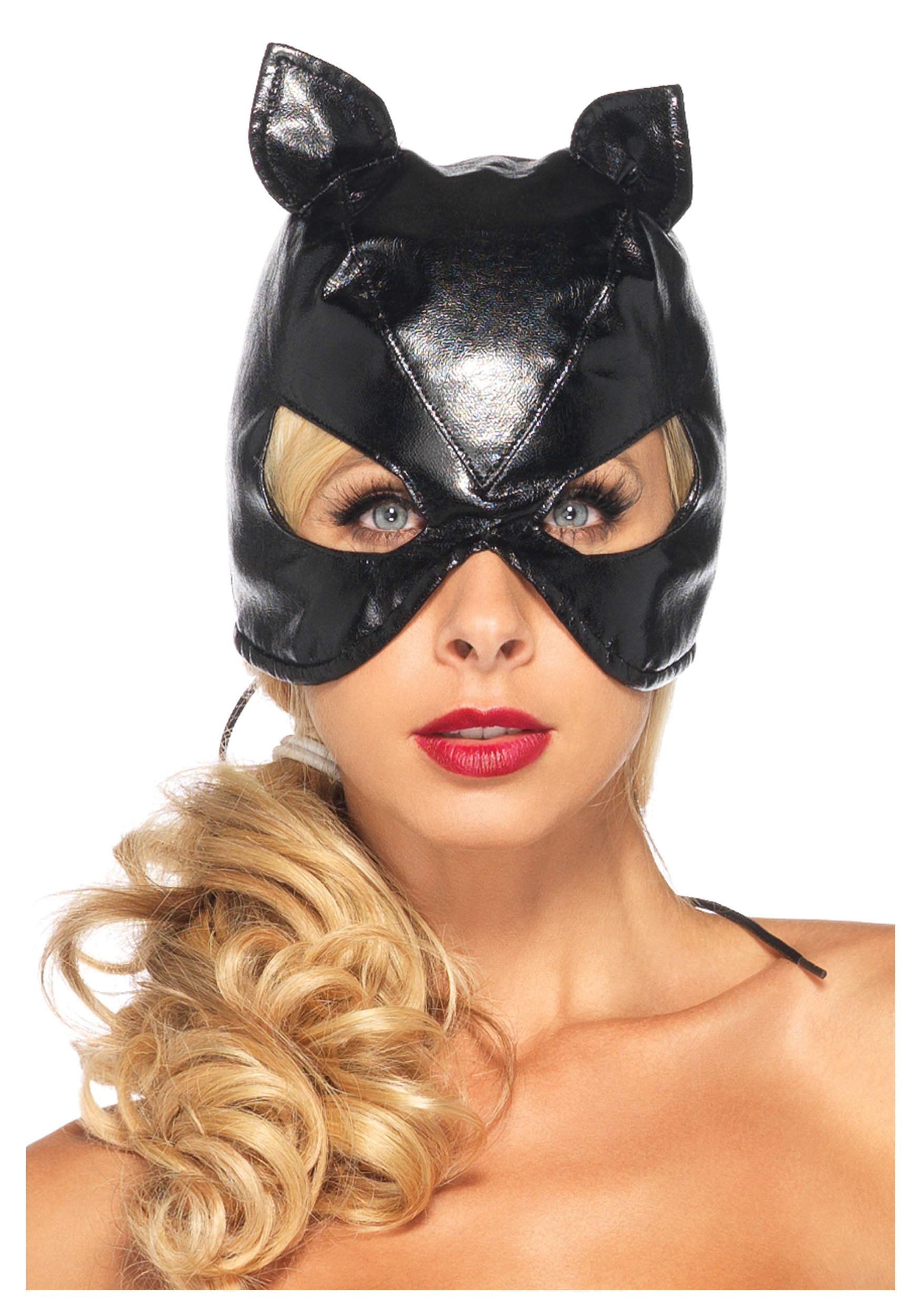 Faux Leather Cat Mask w/ Lace Up Back