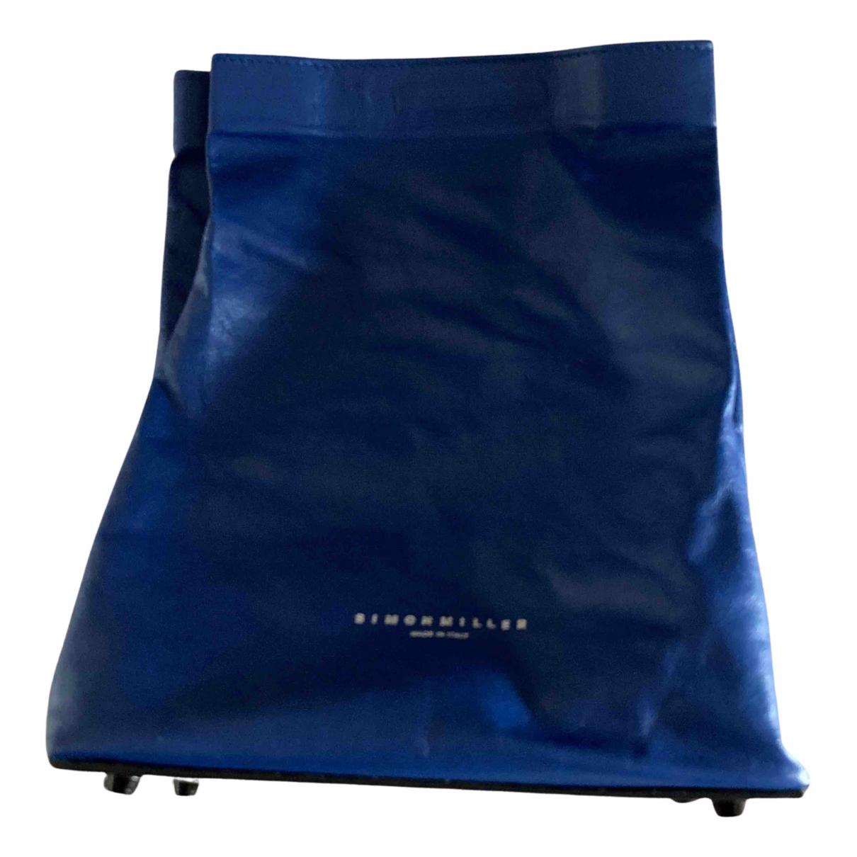 Simon Miller Small Lunch Bag Clutch in  Blau Leder