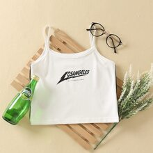 Letter Graphic Contrast Binding Cami Top