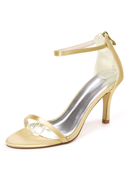 Milanoo Wedding Shoes Ture Red Satin Buckle Open Toe Stiletto Heel Bridal Shoes