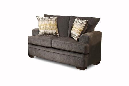 Louis Collection 183652-4214-L-PS 67 Loveseat with Flared Arms  Decorative Pillows  Block Feet  Perth Smoke Fabric Upholstery in Gray