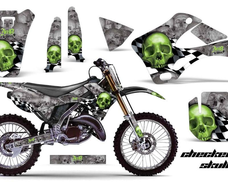 AMR Racing Graphics MX-NP-KAW-KX125-KX250-99-02-CS G S Kit Decal Wrap + # Plates For Kawasaki KX125 | KX250 1999-2002áCHECKERED GREEN SILVER
