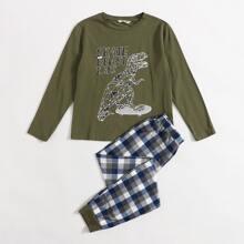 Schlafanzug Set mit Dinosaurier & Karo Muster