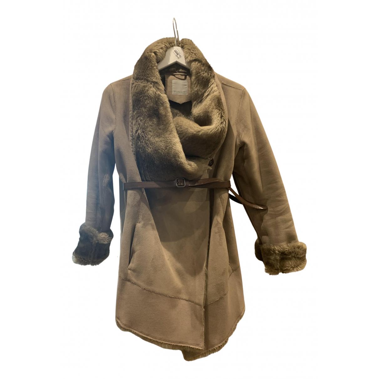 Pinko - Manteau   pour femme en suede - marron
