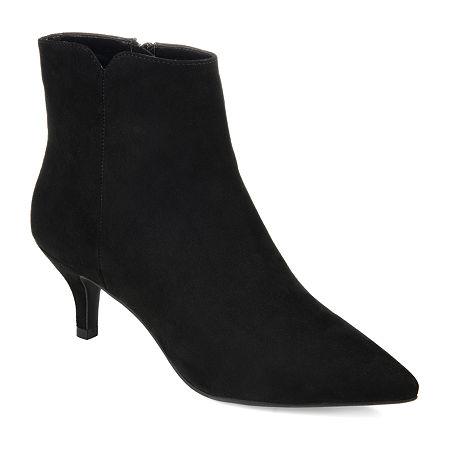 Journee Collection Womens Isobel Kitten Heel Booties, 6 Medium, Black