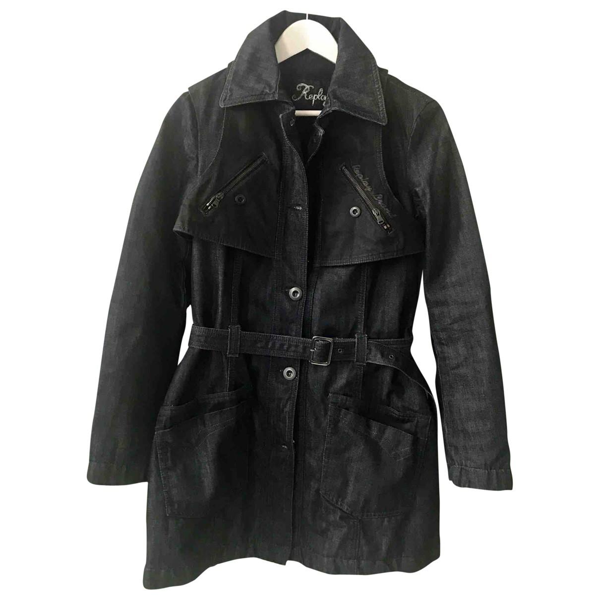 Replay - Manteau   pour femme en coton - bleu