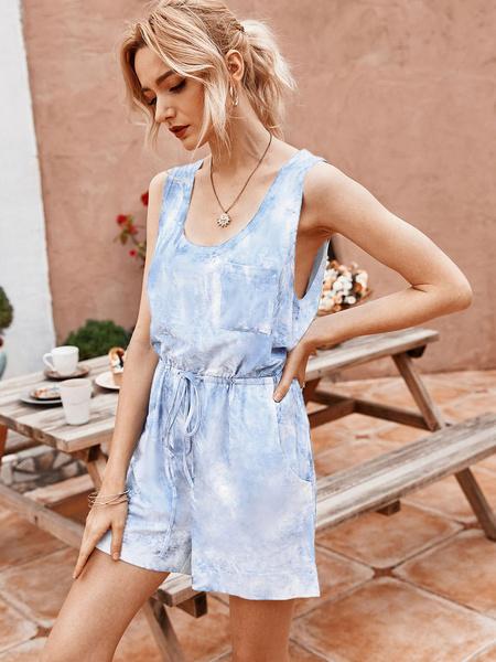 Milanoo Women\'s Loungewear 2-Piece Orange Long Sleeve Polyester Cotton Shorts Jumpsuit Home Wear