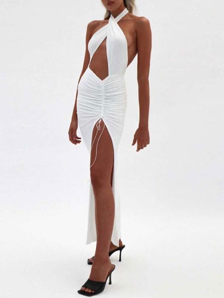 Milanoo Sexy Club Dress White Halter Sleeveless Backless Pleated Slit Long Dress