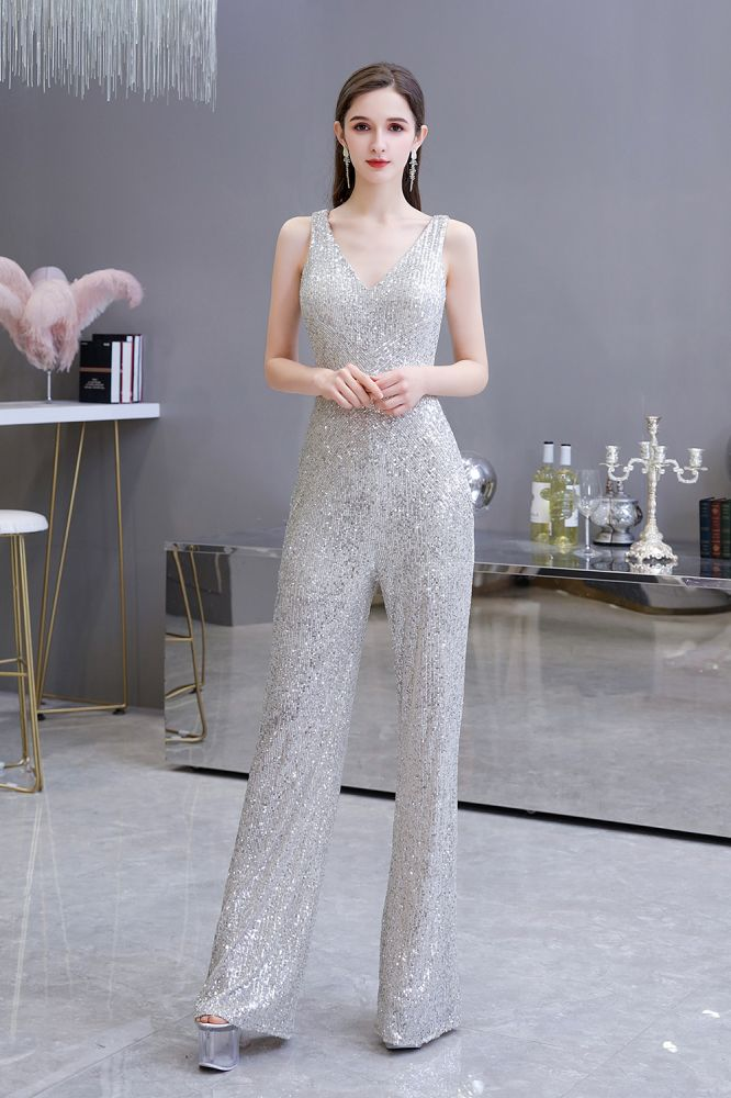 Sexy Shining V-neck Silver Sequin Sleeveless Prom Jumpsuit