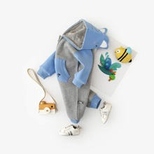 Baby Boy 3D Ear Design Embroidery Hooded Jumpsuit