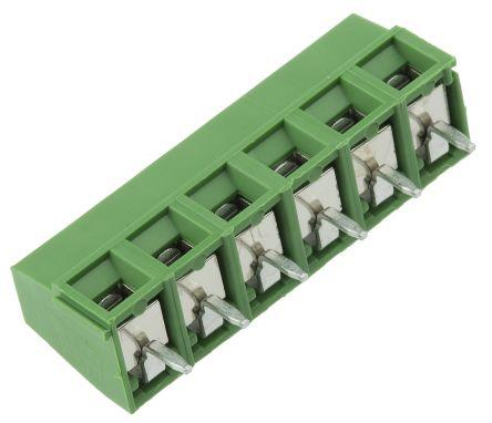 TE Connectivity , Buchanan 5mm Pitch, 6 Way PCB Terminal Strip, Green (5)