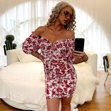 Off Shoulder Frill Trim Ruched Floral Bodycon Dress