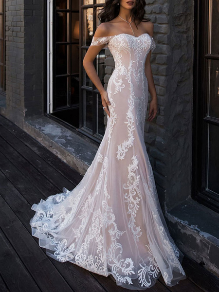 Milanoo boho wedding dresses 2020 mermaid off the shoulder customized lace short sleeve floor length bridal gown with sweep train