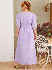 Plus Lantern Sleeve Belted Embroidered Dress