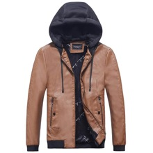 Guys Color Block Zip Up Drawstring Hooded PU Leather Jacket