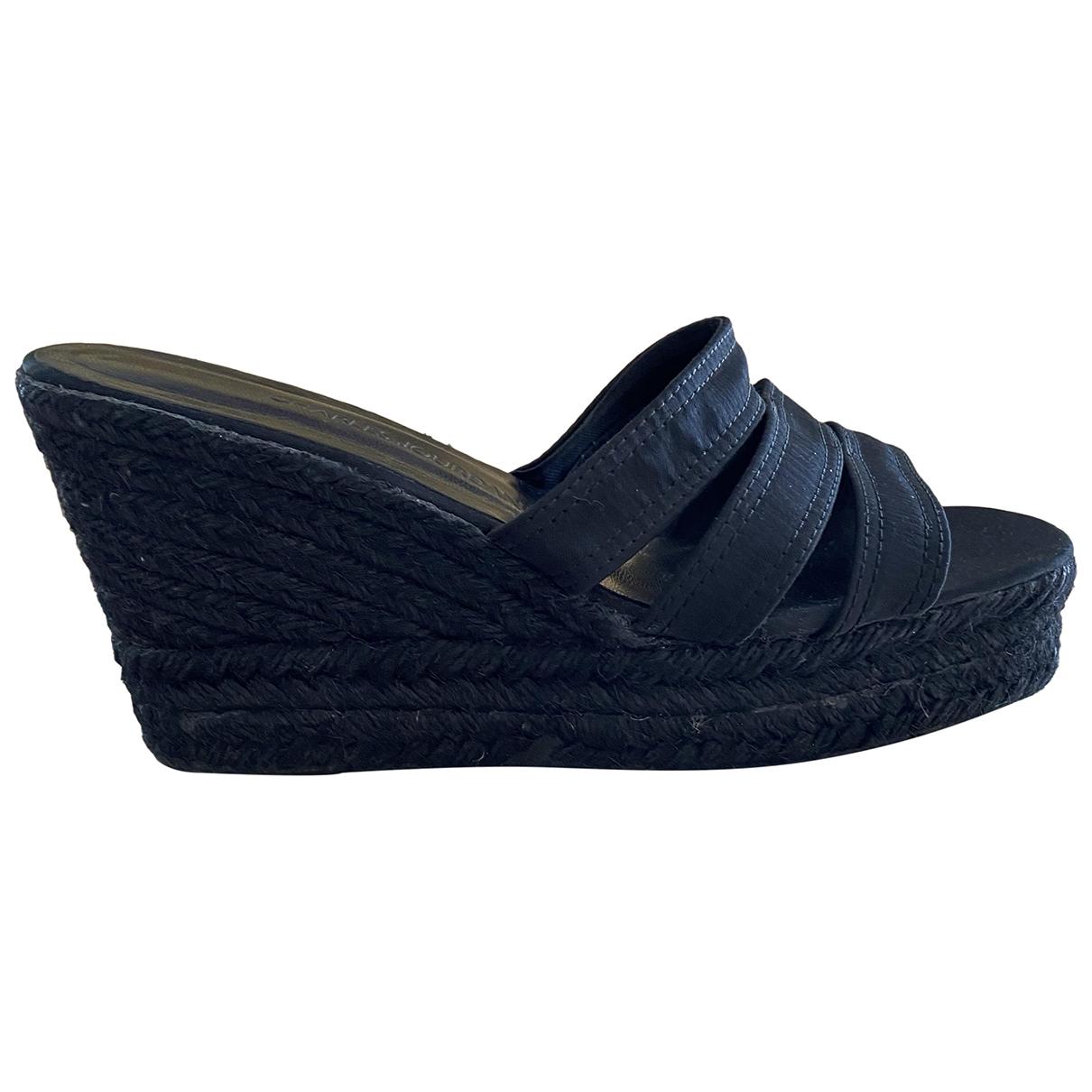 Charles Jourdan \N Black Cloth Sandals for Women 38 EU