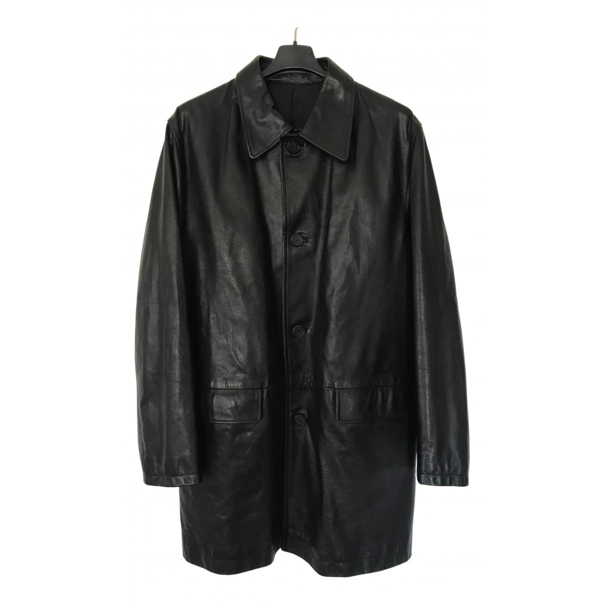 Yves Saint Laurent - Manteau   pour homme en cuir - noir