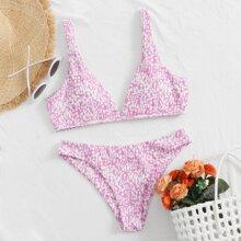 Bañador bikini de espalda con cordon con estampado