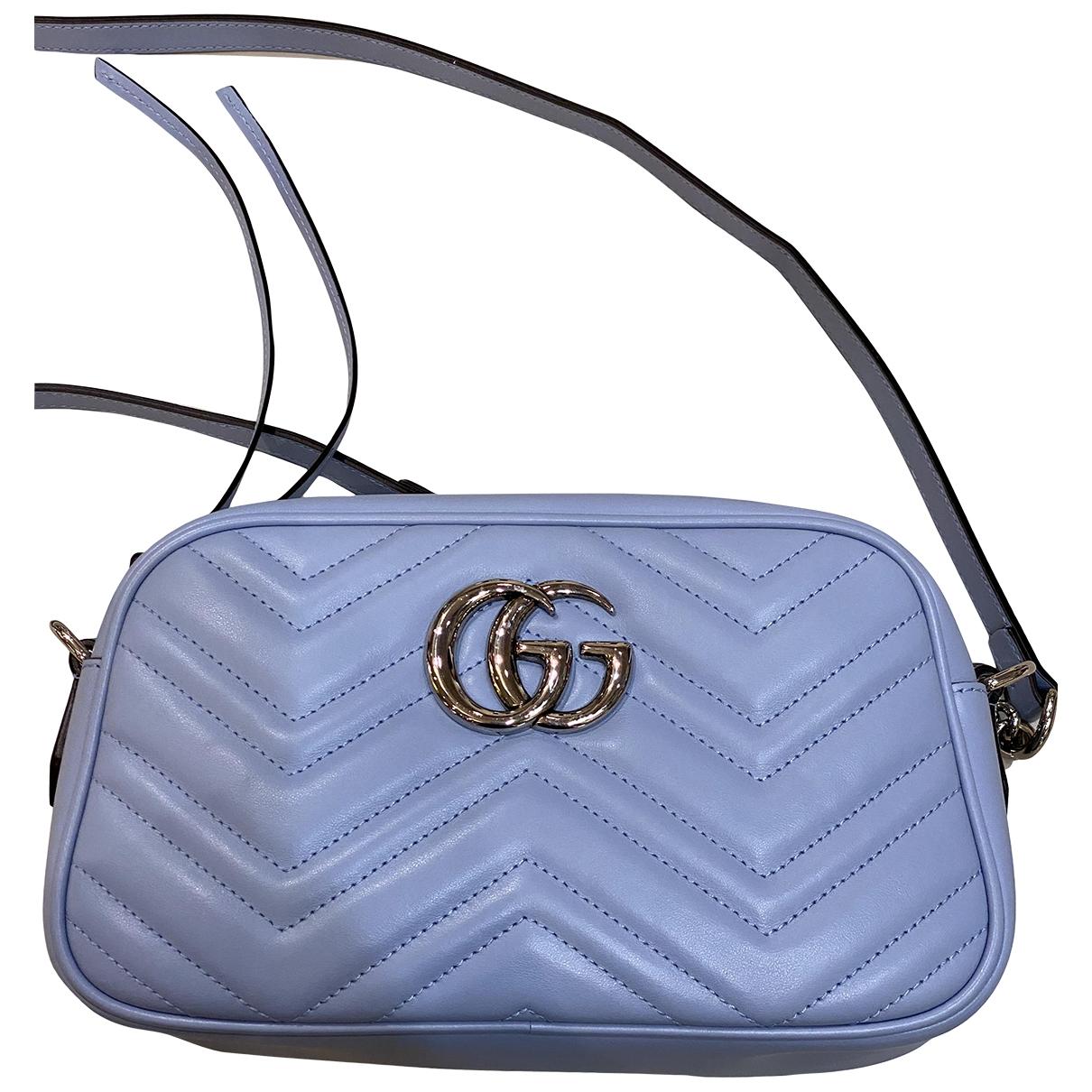 Gucci Marmont Handtasche in  Blau Leder