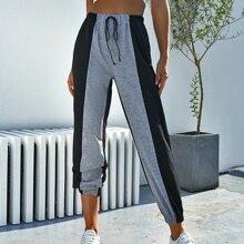 Two Tone Tie Front Sweatpants