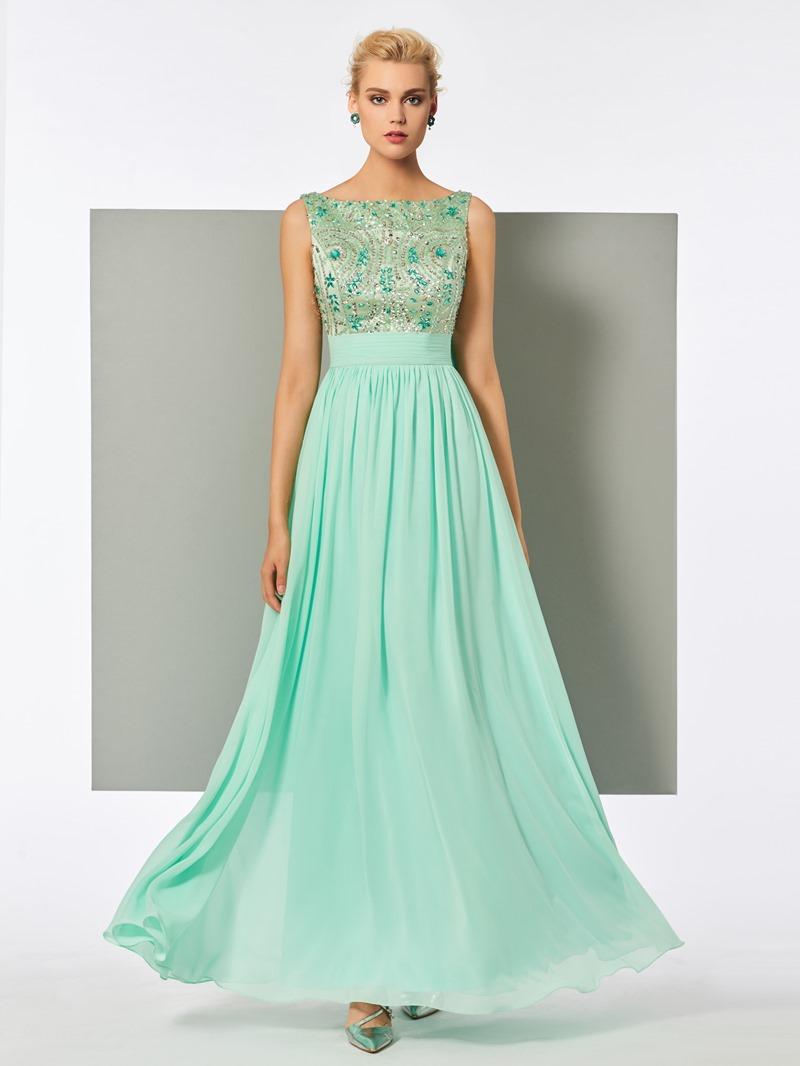 Ericdress A Line Scoop Neck Beaded Crystal Long Evening Dress