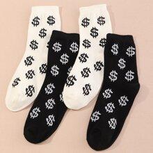 2 pares calcetines con estampado de dolar de hombres