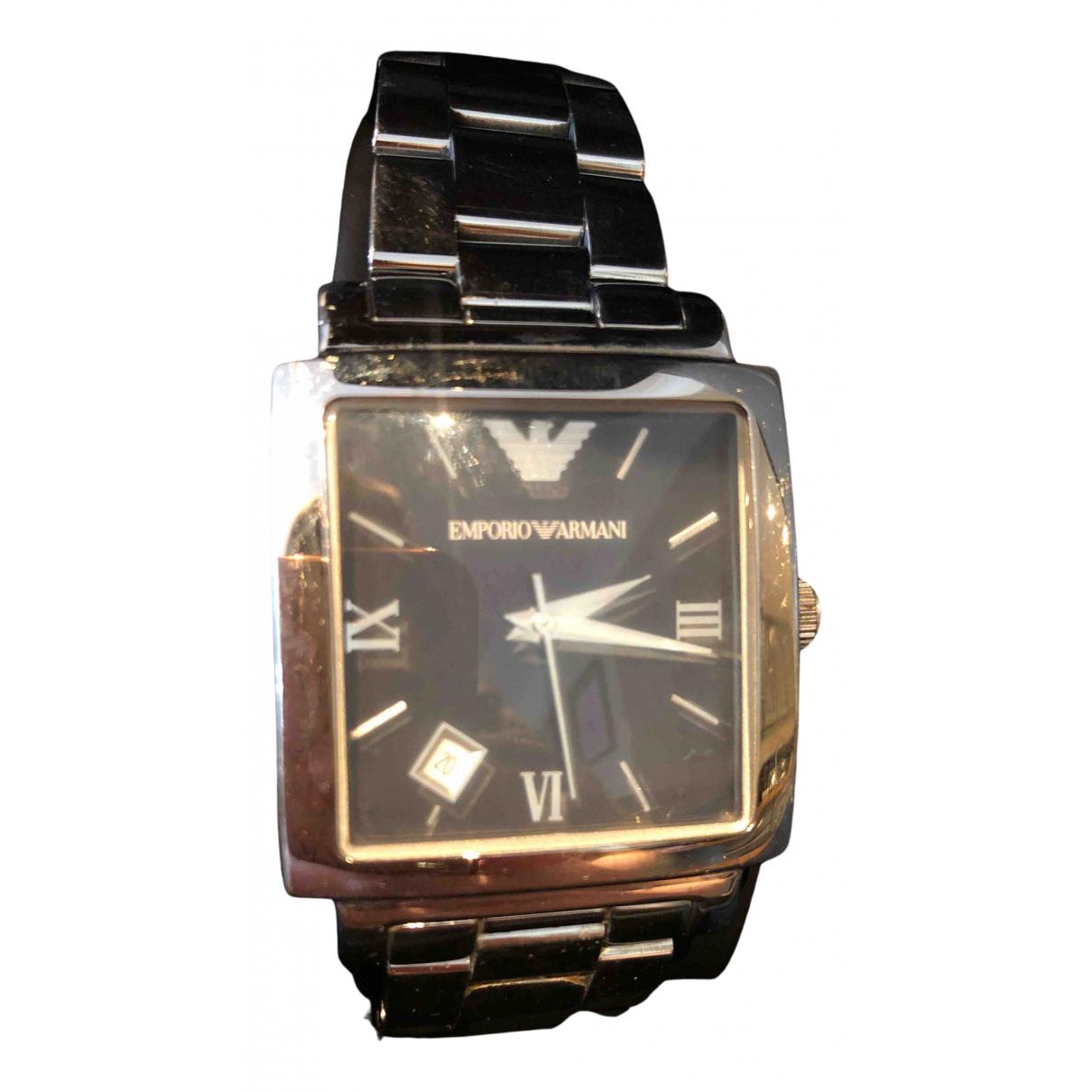 Emporio Armani \N Uhr in  Schwarz Silber