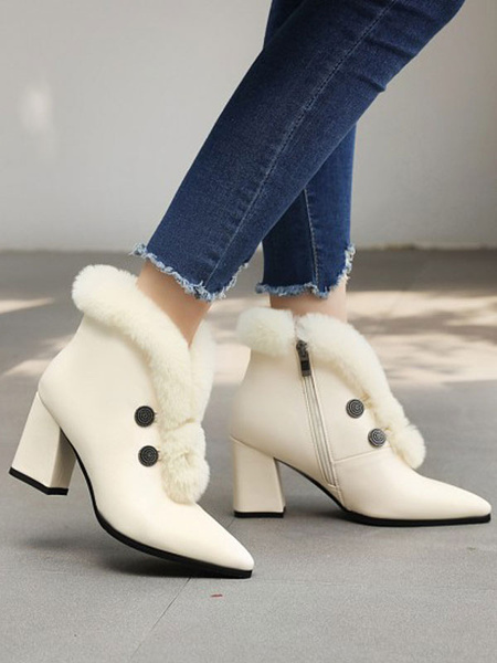 Milanoo Women Ankle Boots White PU Leather Pointed Toe Chunky Heel