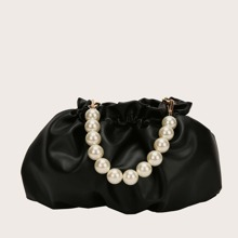 Faux Pearl Decor Ruched Bag