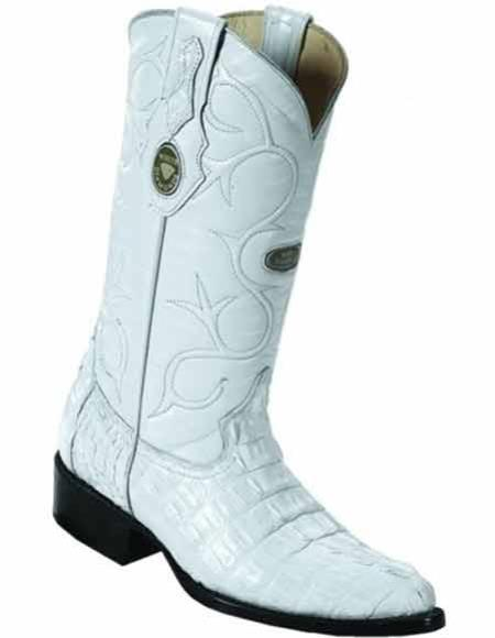 Men's Handmade Caiman Tail Full Leather Lining White J Toe Boots