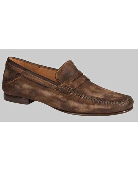 Men's Handmade Khaki Suede Penny Slip On Italian Style Shoes Brand