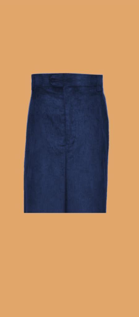 Corduroy Navy Blue Wide Whale Cord Pants Slacks For Men