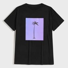 Maenner T-Shirt mit Kokosnuss Baum Muster