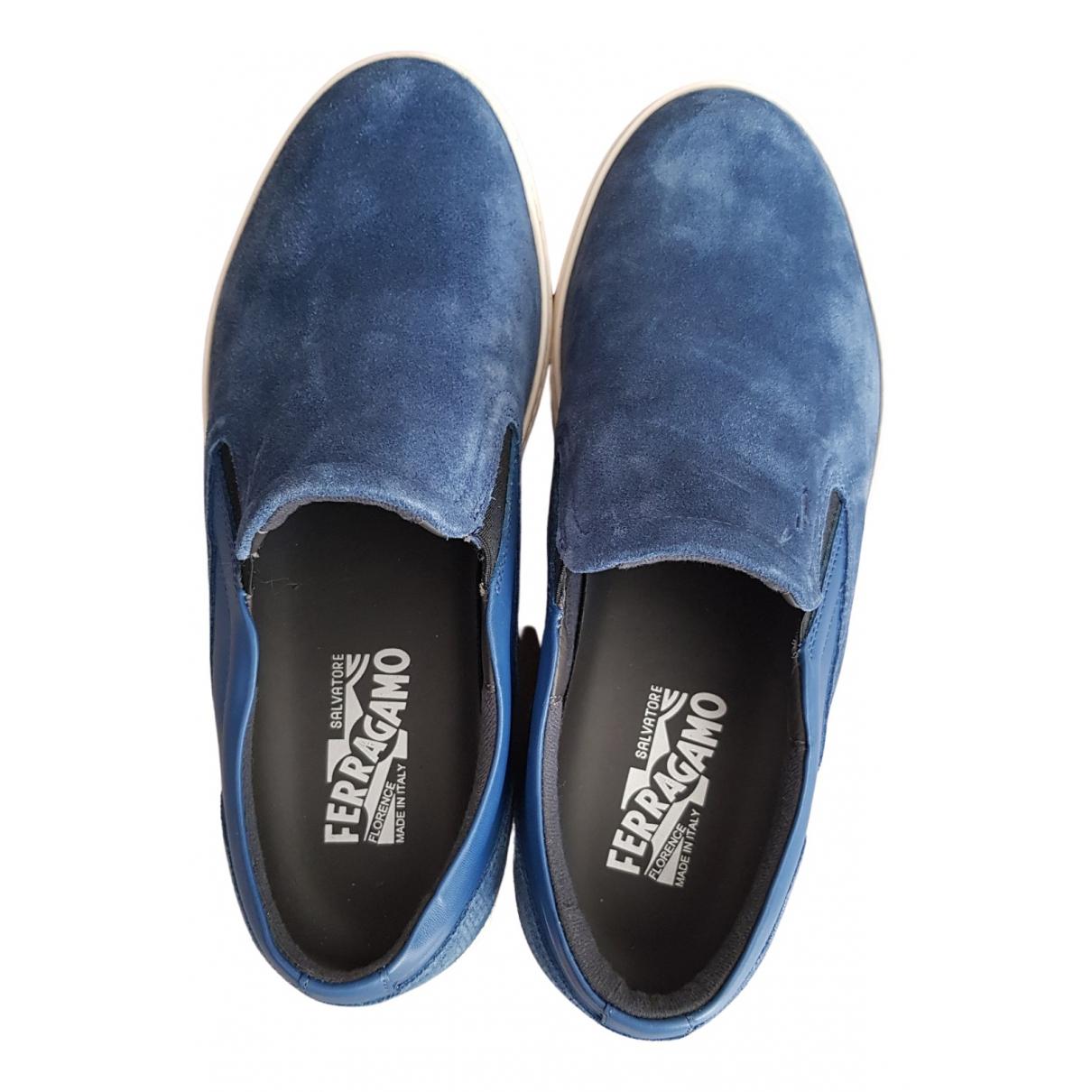 Salvatore Ferragamo - Baskets Slip-On pour homme en suede - bleu