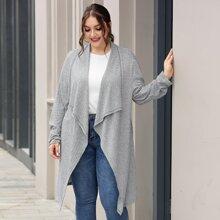 Plus Open Front Rib-knit Longline Coat