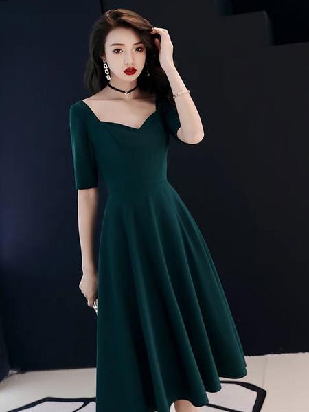 Milanoo Vestidos de coctel Vestido de fiesta de invitados de boda de manga larga y media manga de manga larga de color verde oscuro de Anne