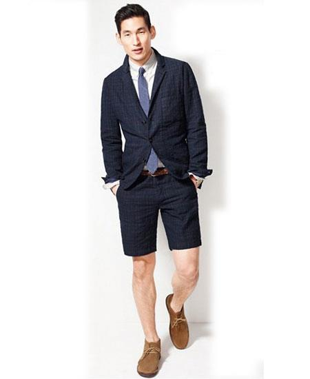 Men's Summer Business Suits Navy Blue Shorts Pants Set (Sport Coat)