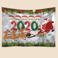 1 Stueck Teppich mit Weihnachtsmann Muster
