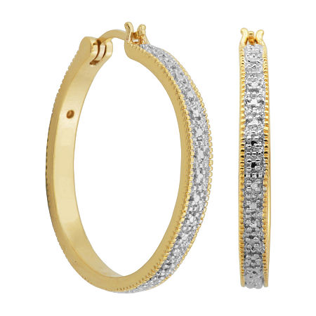 Sparkle Allure Diamond Accent 18K Gold Over Brass Hoop Earrings, One Size , No Color Family