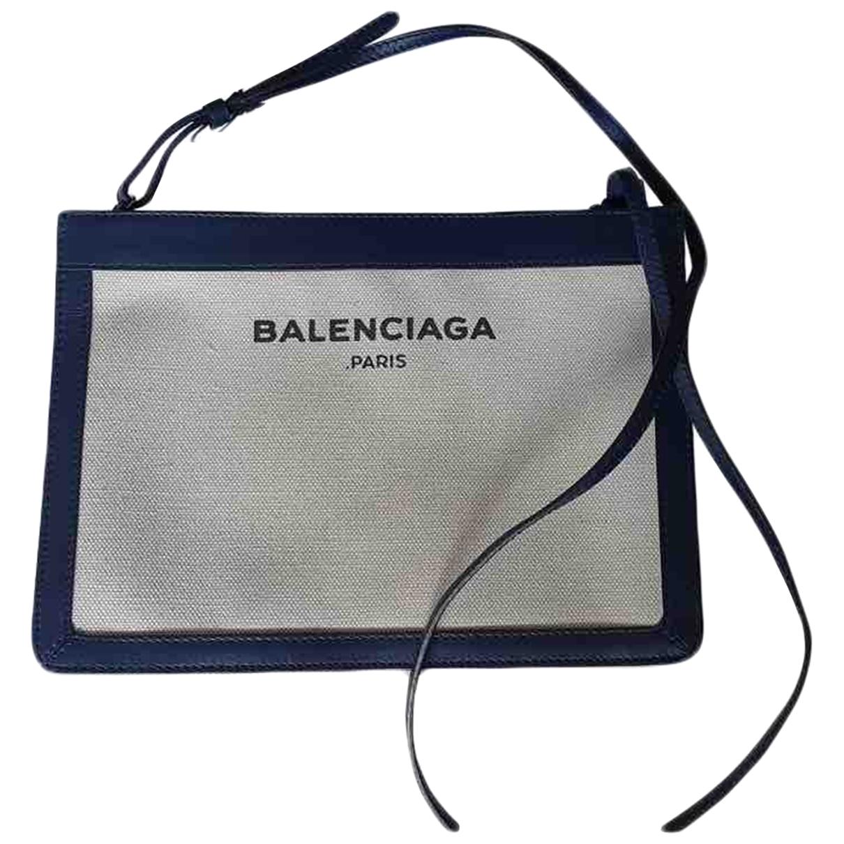 Balenciaga Navy cabas Handtasche in  Weiss Leinen