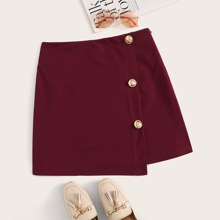 Button Front Zip Side Wrap Skirt