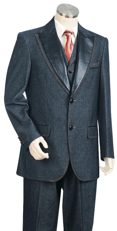 3 Button Suit Wide Leg Pants Wool Feel Navy Tuxedo/Jacket Mens Cheap