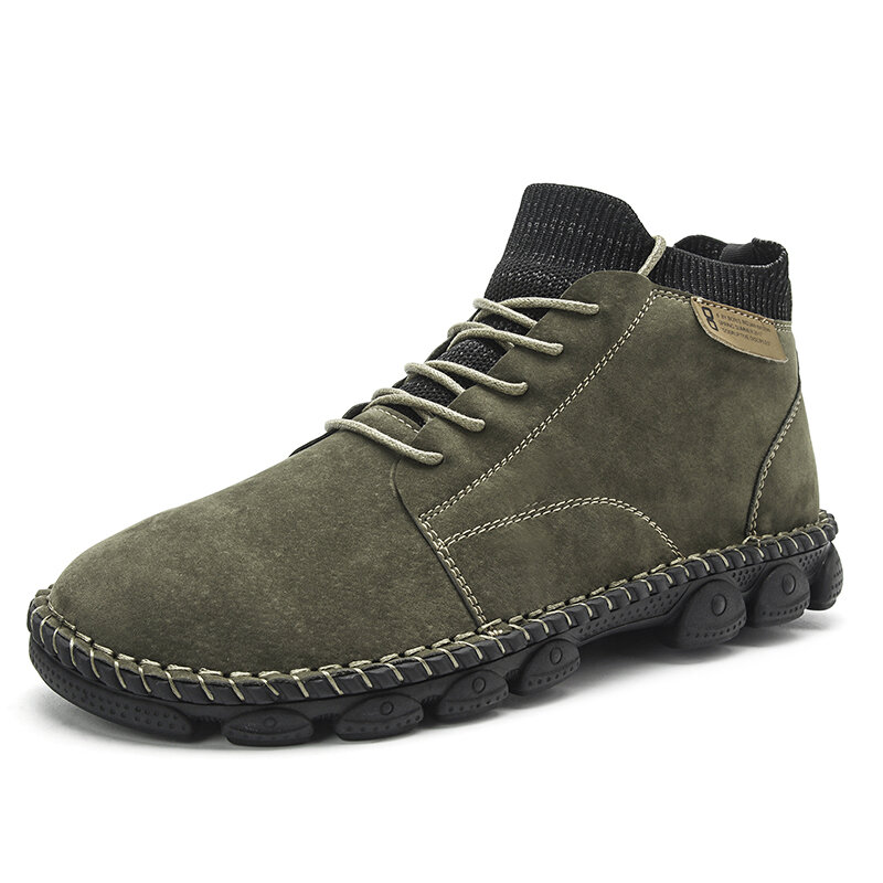 Men Hand Stitching Outdoor Work Style Microfiber Leather Boots